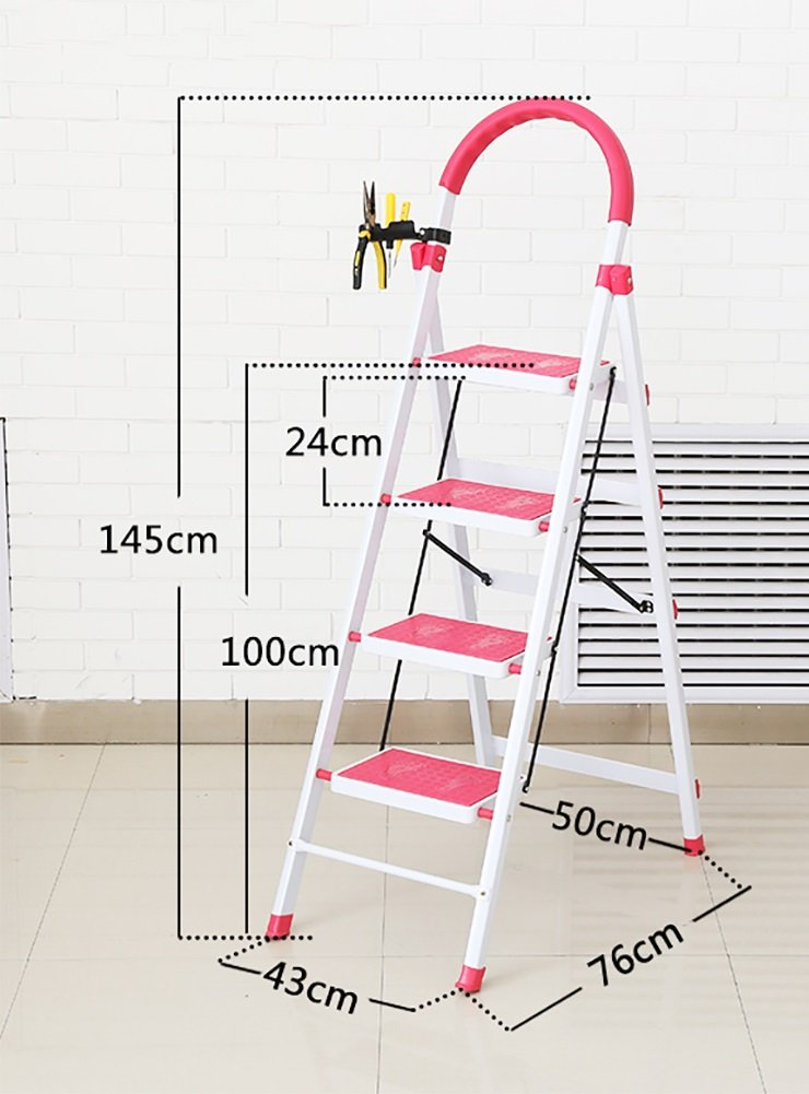 YD-Step stool Step Stool Metal Iron-Folding Ladder-Step Stool-Adult Heavy Folding Step Ladder/Ladder Handle Non-Slip Pedal /&