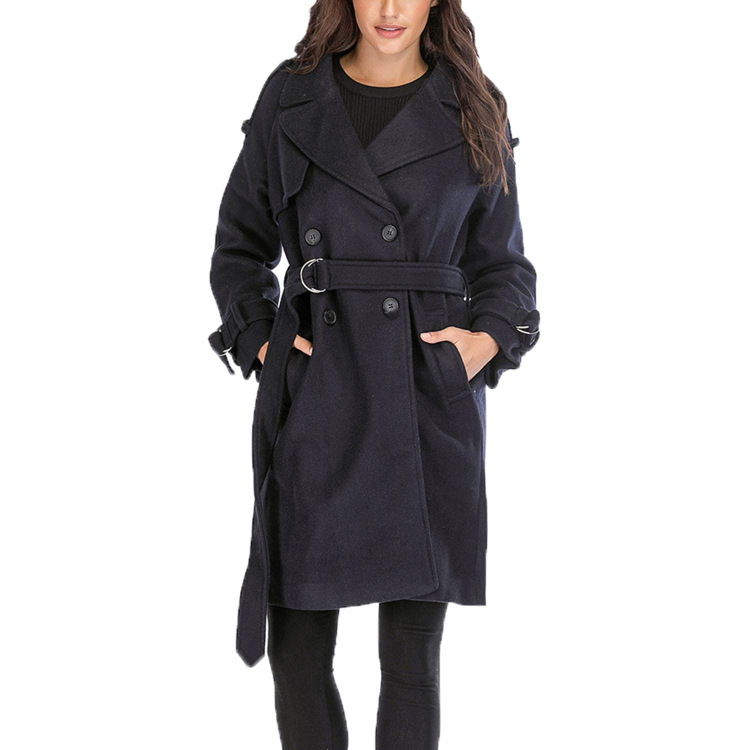 Navy Topfly® Women's Wool Blend Belted Outdoor Trench Coat Double Breasted Pea Coat
