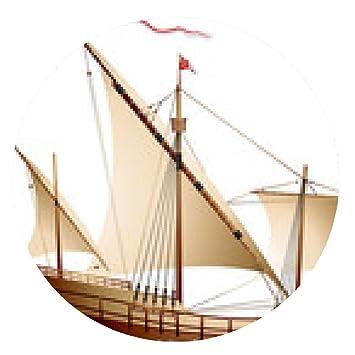 alfombrilla de ratón Carabela, un barco de vela - ronda: Amazon.es ...