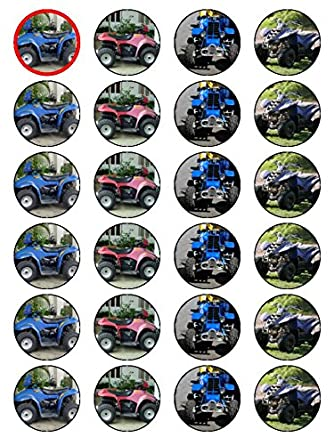 X24 15 Inch Quad Bike ATV All Terrain Vehicle Birthday Cup Cake Toppers Decorations On Edible Rice Paper Amazoncouk Grocery