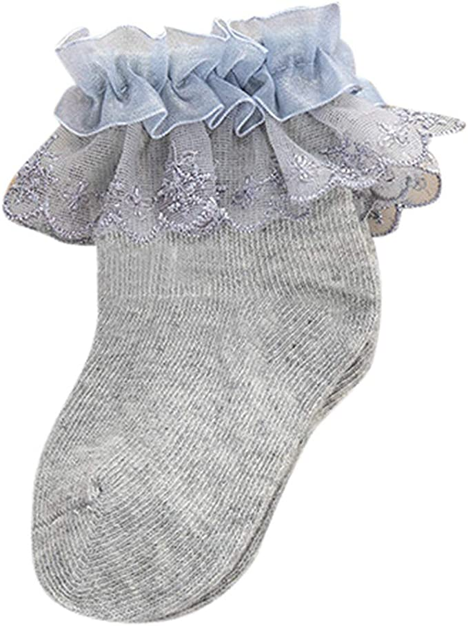 White Frilled Lace Baby Socks with White And Silver Ribbon Trim size 0-3 months