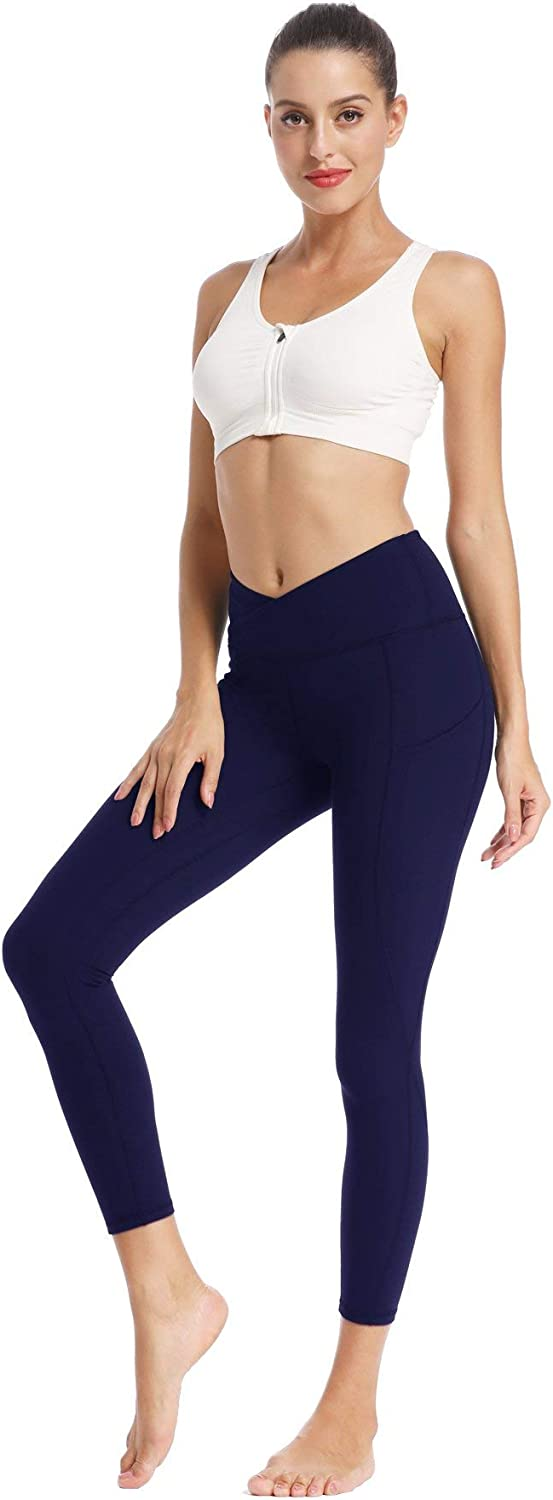 Willit Womens Yoga Leggings High Waisted Side Pocketed V Cross Workout Running Pants Tummy Control