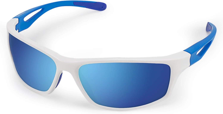 CHEREEKI Gafas de Sol Deportivas, Gafas de Sol Deportivas Polarizadas con Proteccion UV400 & Marco TR90 Irrompible. para Hombre y Mujer, Deportes al Aire Libre, Pesca, Ski, Conducción, Golf