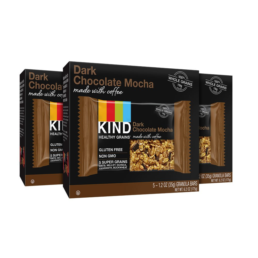 KIND Healthy Grains Dark Chocolate Mocha Bars, Non GMO, Gluten Free, 1.2oz Bars, 15 Count