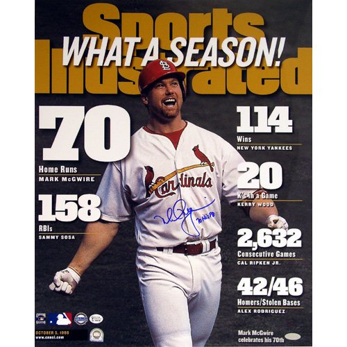 Steiner Sports MLB Saint Louis Cardinals Mark McGwire SI Cover with70 hr 98 Inscription 16 x 20-inch Ltd of 98