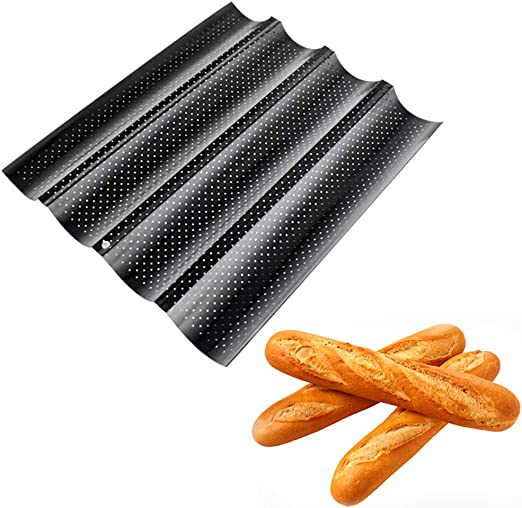 1Pc Kitchen Perforated Non-Stick Baking Tray Mold French Baguette Bread Pan