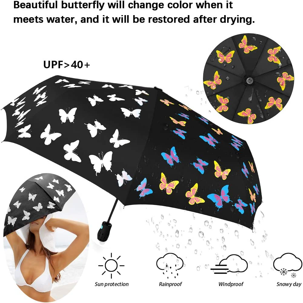 Butterflies Abstraction Art Photoshop Compact Travel Umbrella Windproof Reinforced Canopy 8 Ribs Umbrella Auto Open And Close Button Personalized