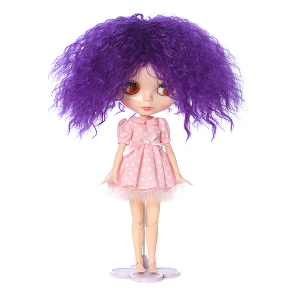 Wigs Only! Orange Long Afro Wavy Doll Wig for Blythe Pullip Doll with 25cm Head Leeswig