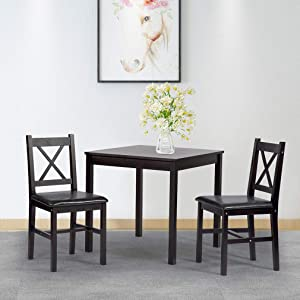 BestMassage Dining Kitchen Table Dining Set 3 Piece Wood in Door Square Small Farmhouse Dining Room Table Set Table and Chair for 2 Person, Dark Brown