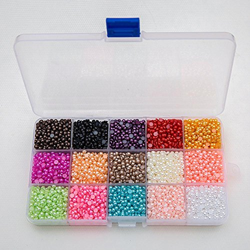 9000pcs Mixed 15Color Half Pearl Bead 4mm Flat Back Gem Scrapbook Craft /DIY Compartment Plastic (Pearl Beads Bulk)