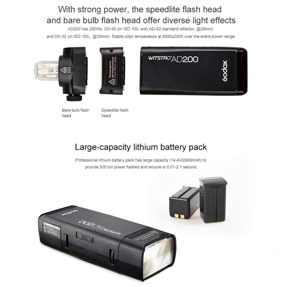Godox AD200 TTL 2.4G HSS 1/8000s Pocket Flash Light Double Head 200Ws 2900mAh Lithium Battery+Godox XPro-N TTL 2.4 G Wireless Flash Trigger Compatible for Nikon,Godox BD-07 Barn Door by Godox (Image #9)