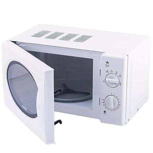 H.Koenig Microondas sin Grill, 20 litros, 700 W, Temporizador hasta 30 min, 6 Niveles de Potencia, Descongelación, Acero, Blanco VIO6, plástico, Metal
