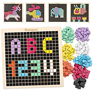 Coogam Wooden Mosaic Puzzle, 370PCS Shape Pattern Blocks with 8 Colors, Pixel Board Game STEM Montessori Toys Gift for Toddlers Kids Boys Girls Ages 4 5 6 7 Years Old