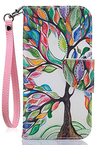 iPhone8 Wallet Case, iPhone7 Case, JanCalm [Card/Cash Slots] [Wrist Strap] PU Leather Wallet Cover Flip Cell Phone Cases for iPhone 7 / iPhone 8 + Crystal Pen (Beautiful Tree Pattern)