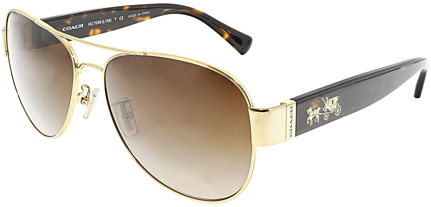 d309d1656f ... order amazon coach womens l138 sunglasses hc7059 gold brown metal  polarized 58mm clothing 532fa c09eb