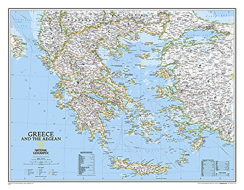 National Geographic: Greece Classic Wall Map - Laminated (30.25 x 23.5 inches) (National Geographic Reference - Greece Map
