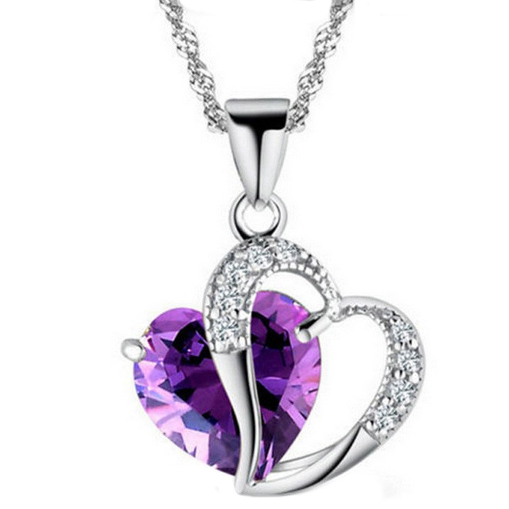 Swyss Crystal Heart Pendant Necklace for Women Romantic Fashion Classic Luxury Jewelry Gift (Purple)