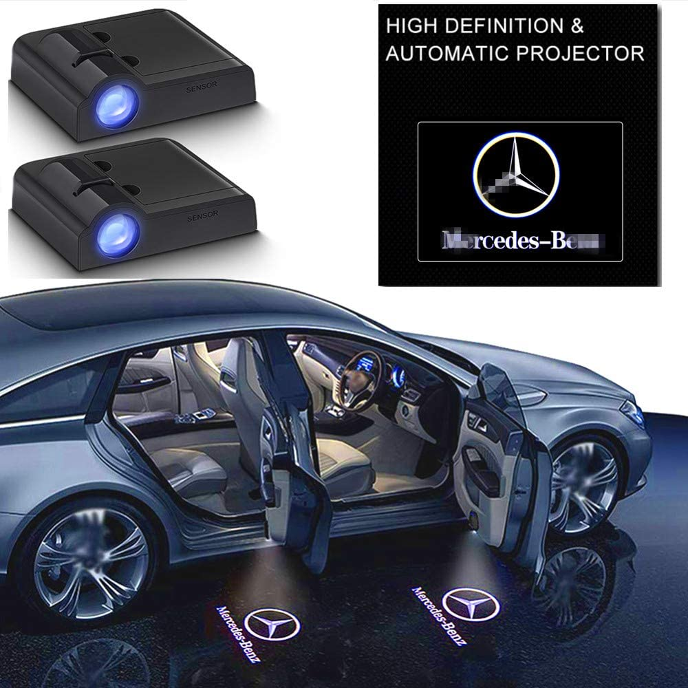 2Pcs Mercedes Benz E A C S ML Gla Class w212 w166 w176 for All Car Models Series Door Lights Logo Shadow Ghost Light Wireless Car Door Welcome Courtesy Lights Logo
