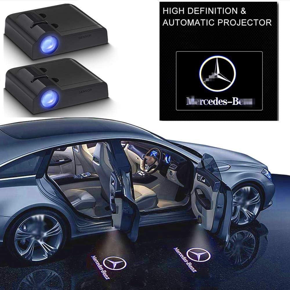 2Pcs Mercedes Benz E A C S ML Gla Class w212 w166 w176 for All Car Models Series Door Lights Logo Shadow Ghost Light Wireless Car Door Welcome Courtesy Lights Logo
