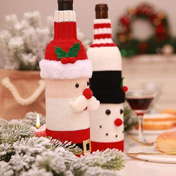 Pairka Navidad Jersey de Botellas de Vino Botella Decorativa Cover Set Gorro Vino Botella Protectora patrón de papá Noel Navidad Mesa Decorativa: Amazon.es: ...