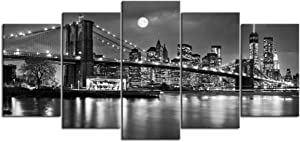 Nachic Wall- 5 Piece Brooklyn Bridge Full Moon Canvas Wall Art Black and White New York Night View Poster Giclee Prints Artwork NYC Landscape Photo Paintings Modern Home Office Decor