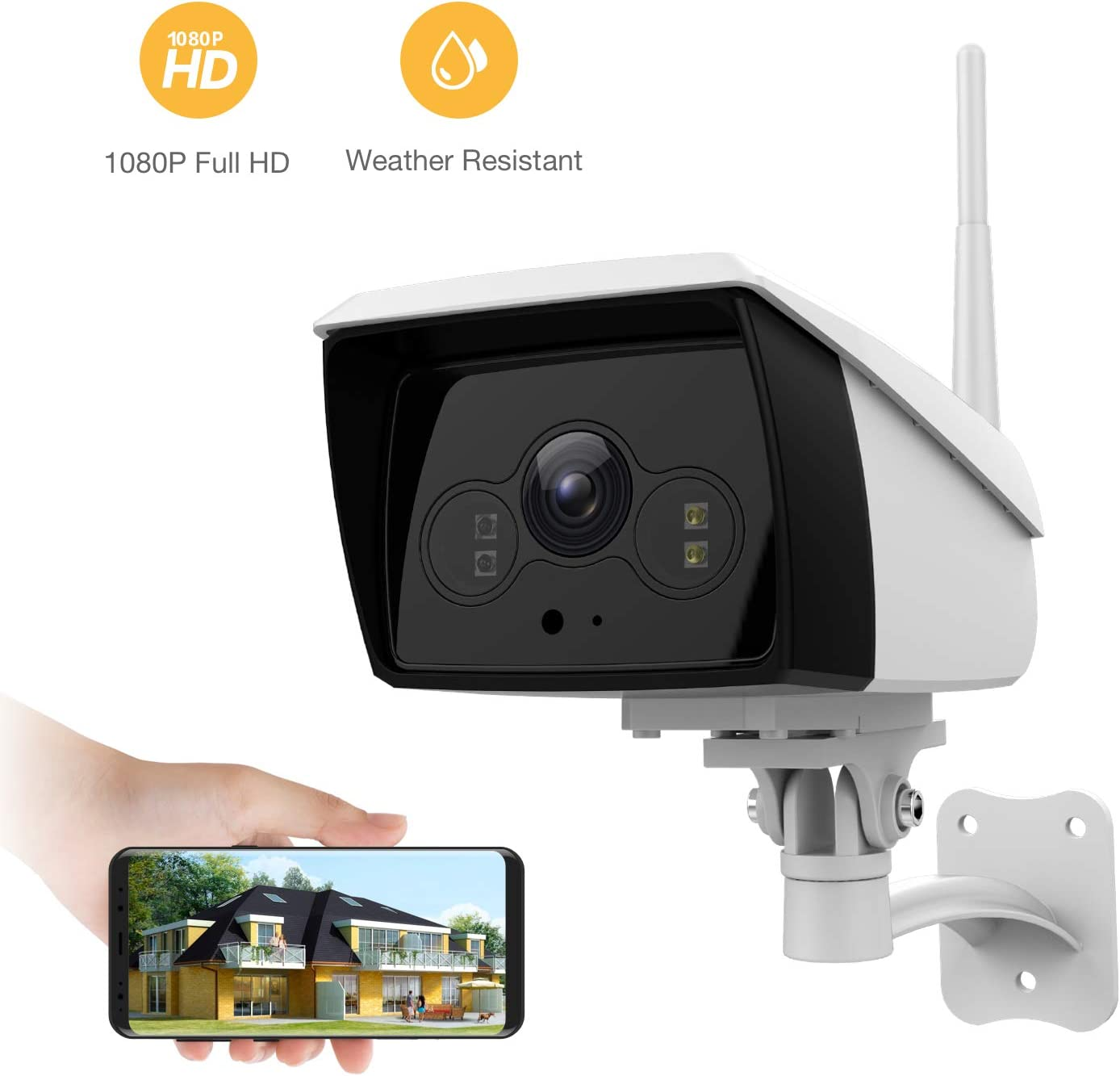 famisafe Wireless Outdoor Camera, IP Camera HD 2MP Floodlight 2.4G Wi-Fi with 2-Way Audio, Motion Detection, Night Vision, Remote Monitor for Baby Pet Elder, Work with Alexa Android iOS
