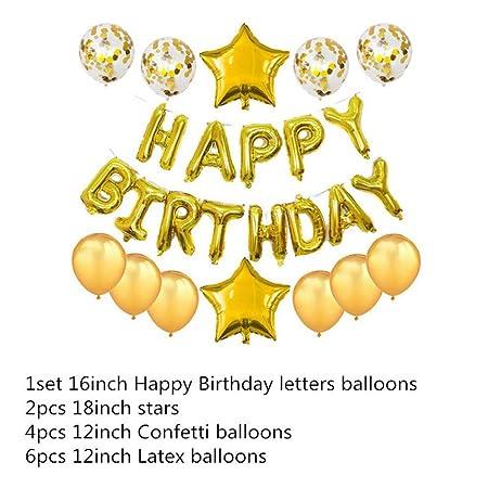 MTCTK Letras De 16 Pulgadas Feliz Cumpleaños Globos De ...