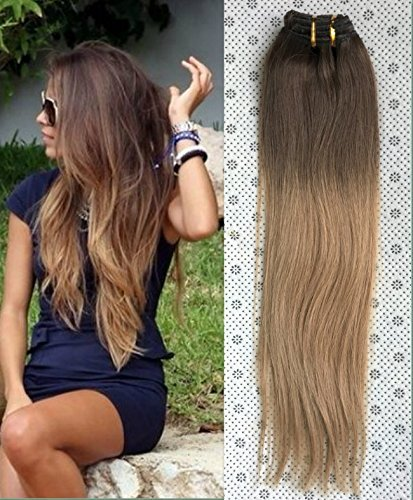 18 Inches Straight 100gr Full Head 100% Real Clip in Human Hair Extensions, Ombré Hairpieces(Medium ash brown to dirty blonde)