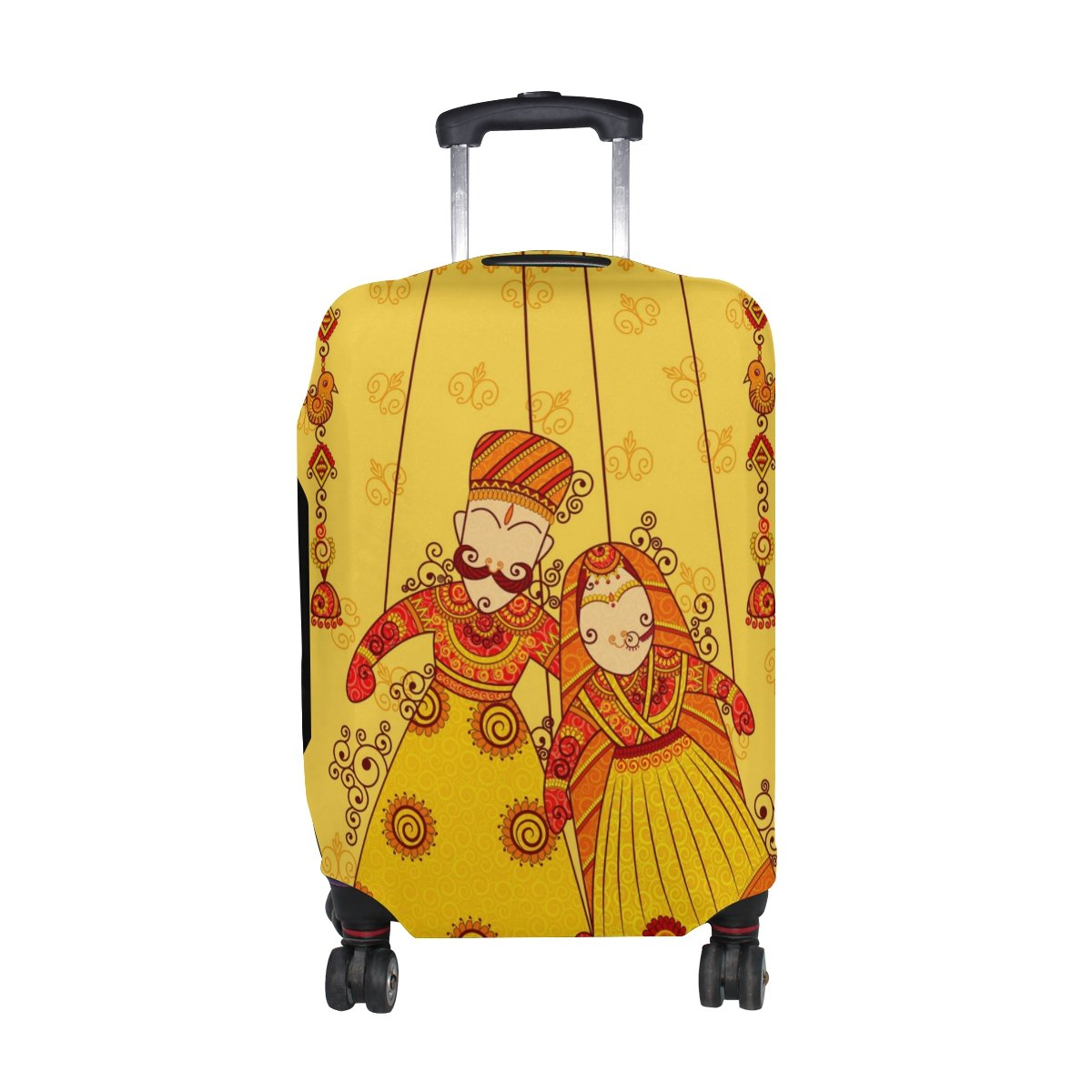 U LIFE Vintage Indian Lotus Wedding Luggage Suitcase Cover Protector for Travel