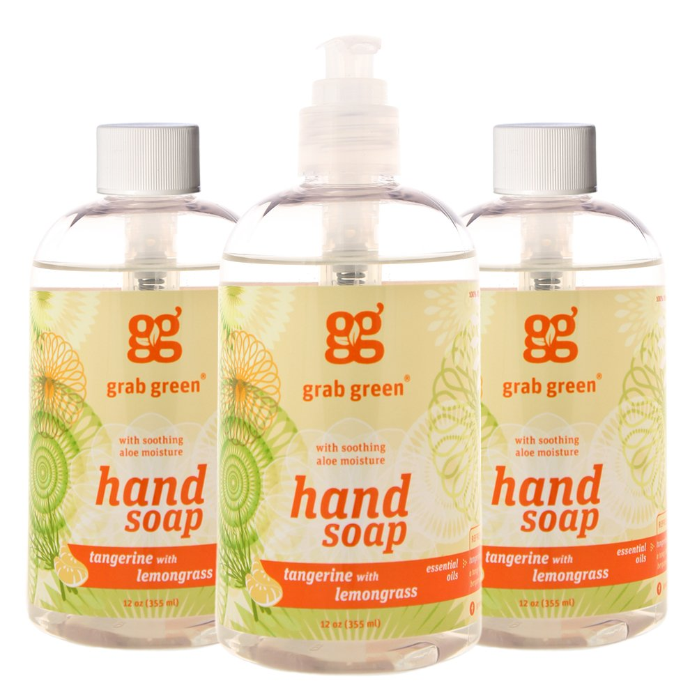 Grab Green Natural Hand Soap, Tangerine with Lemongrass, 12 Ounce (3 Count)