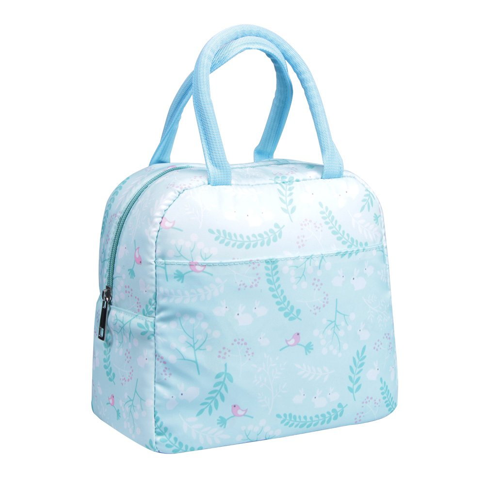 Insulated Lunch Bag Modern Portable Cooler Tote Bag Reusable Lunch box Lunch Organizer with Zip Closure for Adults& Kids, Language of Flowers BOFANS