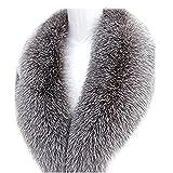 Women's Long Detachable Genuine Fox Fur Collar Scarf Shawl Warmer Size 75-100cm (The lining is 100 cm long)