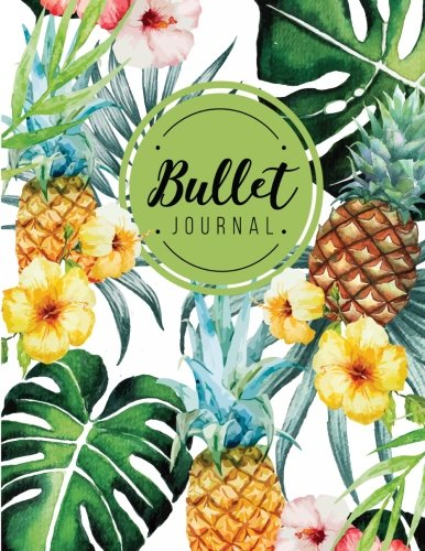 Bullet journal: quarterly planner with blank yearly & monthly calendar, and habit tracker, 120 dot grid & 15 lined pages, 8.5x11in, Pineapple yellow ... large diary journal to write in everyday life