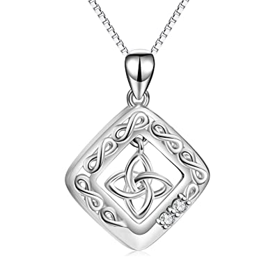 92006d832b342 Amazon.com  LUHE Celtic Knot Pendant Necklace 925 Sterling Silver Square  Medallion Irish Celtic Jewelry for Women Girls