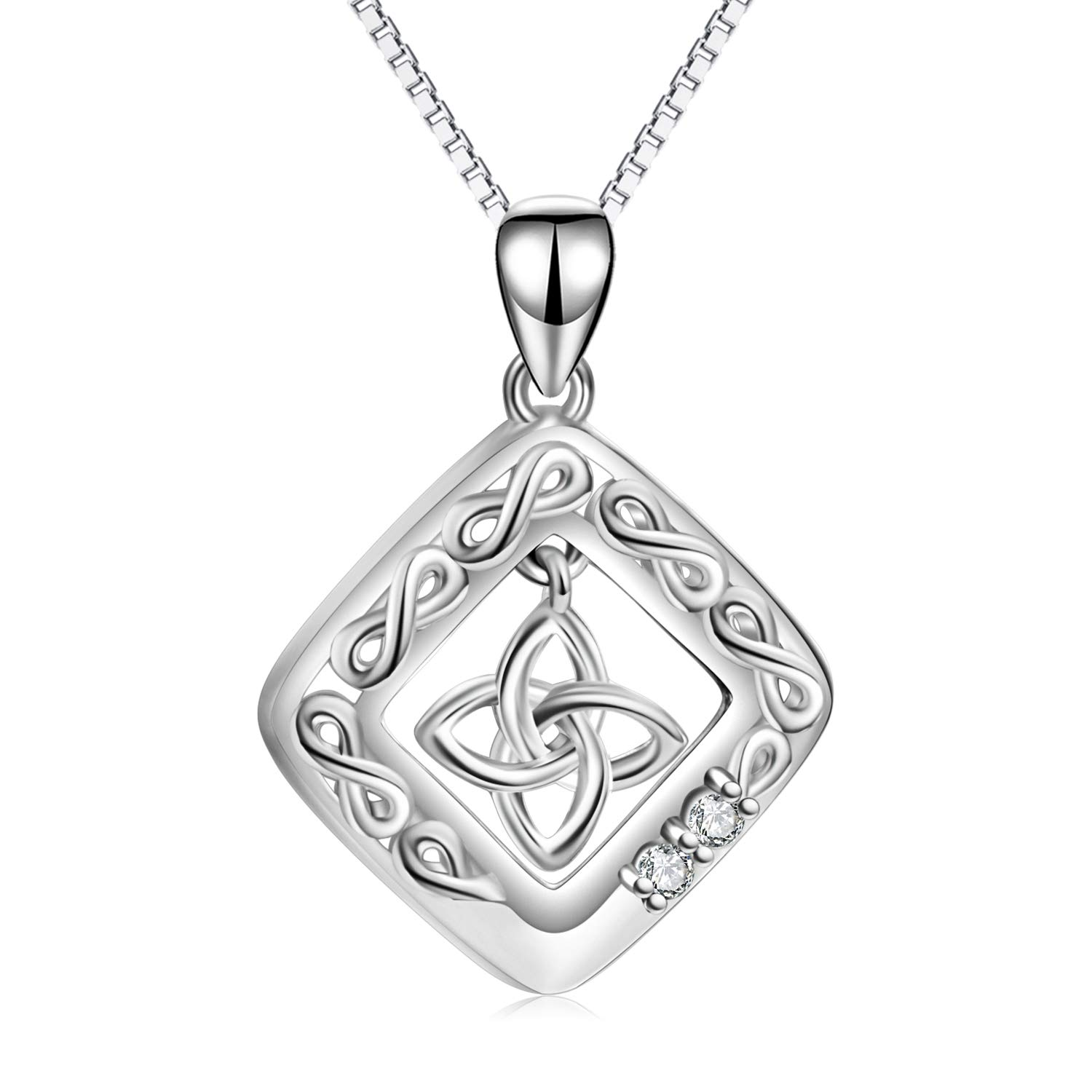 LUHE Celtic Jewelry Sterling Silver Good Luck Statement Pendant Triquetra Celtic Knot Necklace for Women Girls, 18''