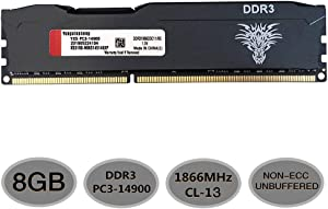 Yongxinsheng 8GB DDR3 1866MHz UDIMM RAM (PC3-14900) CL13 240Pin 1.5V Non-ECC Unbuffered for Desktop Memory Stick