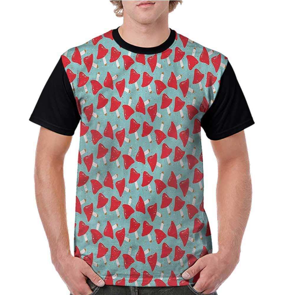 Shirt,Mushroom,Grunge Vivid Toadstool S-XXL Womens Short Sleeve Tops