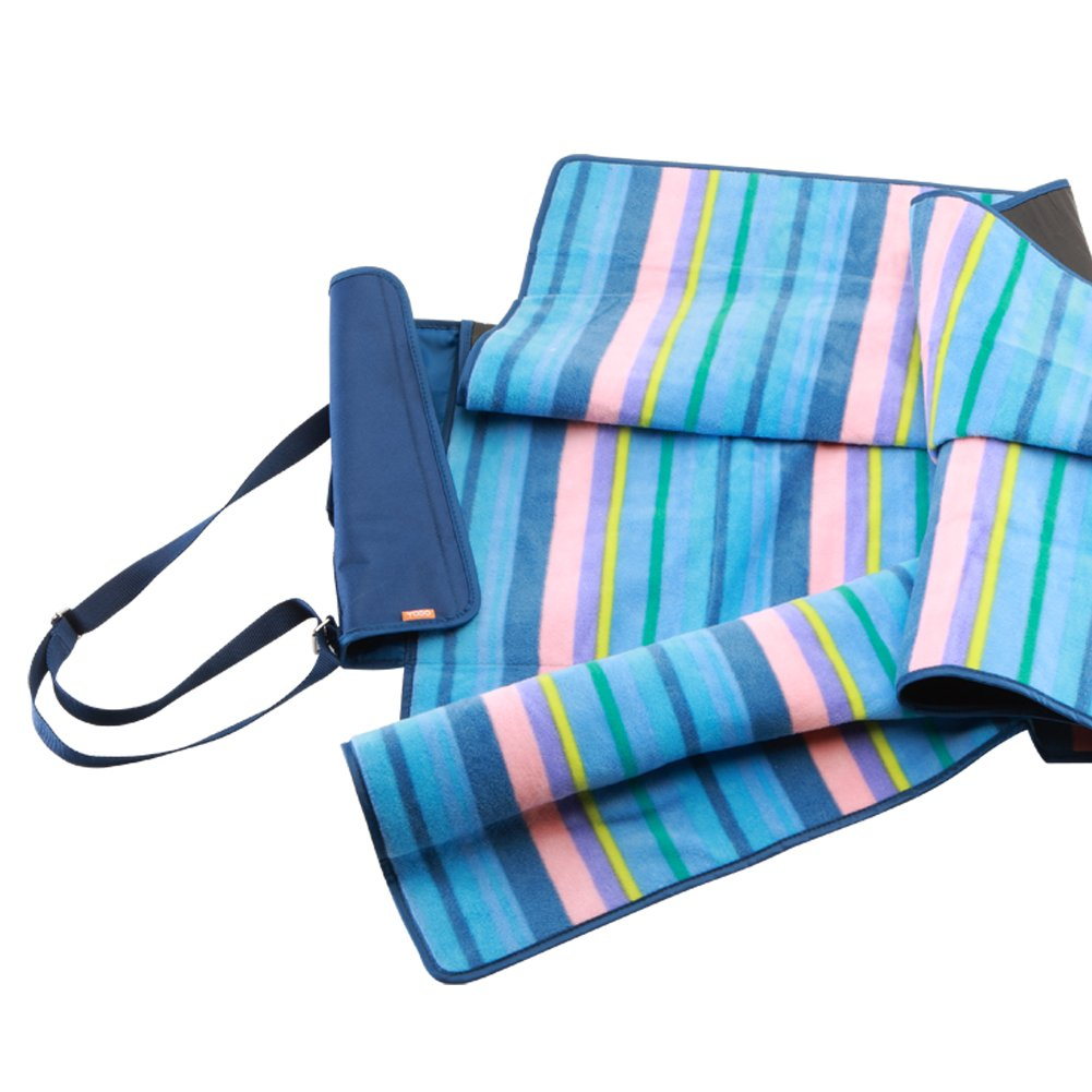 Yodo Compact Waterproof Picnic Blanket Rug (150 X 135 cm) with Shoulder Strap, Blue Stripe: Amazon.es: Deportes y aire libre