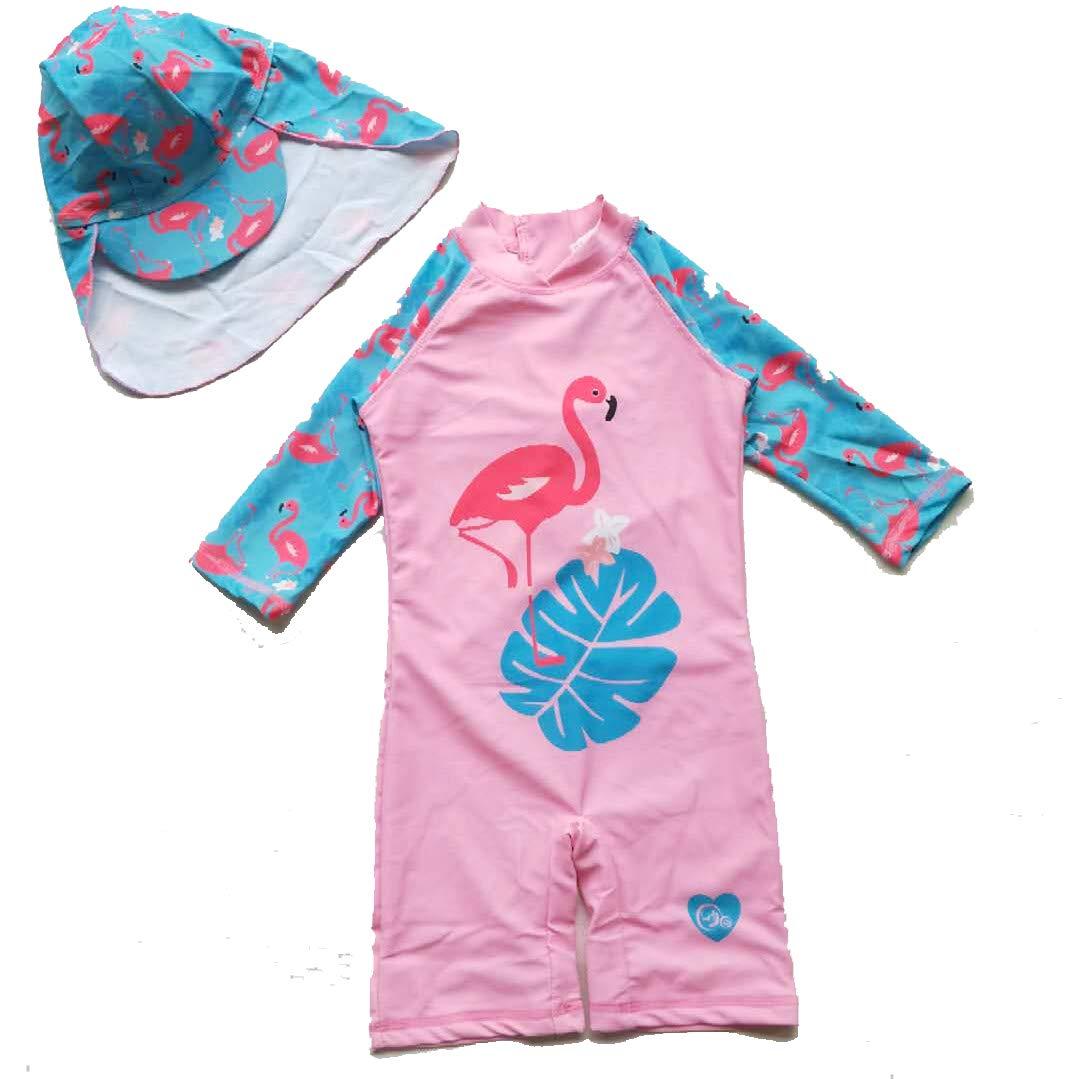 pjsonesie Unicorn Swimwear Girls One Pieces Rash Guard Set Flamingo Sun Suits with Sun Hat UPF 50+