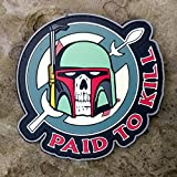 Boba Fett - Paid To Kill - Mandalorian Crest Star Wars PVC Morale Patch - Hook Velcro Backed by NEO Tactical Gear