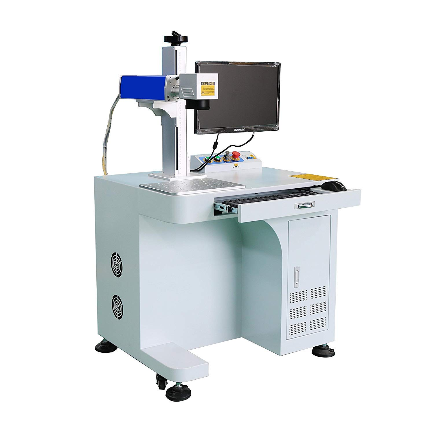 DIHORSE Fiber Laser Marking Machine 30W for Permanent Metal Parts Marking and Engraving, Working Area 300x300mm, with 50MM Rotary Attachment (MAX, 30W, 300x300MM)