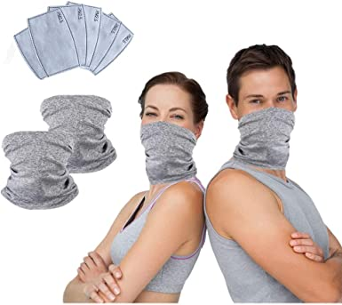 2 Pack Cycling Face Cover with 6pcs PM2.5 Filters Multifunct Sports-Headbands