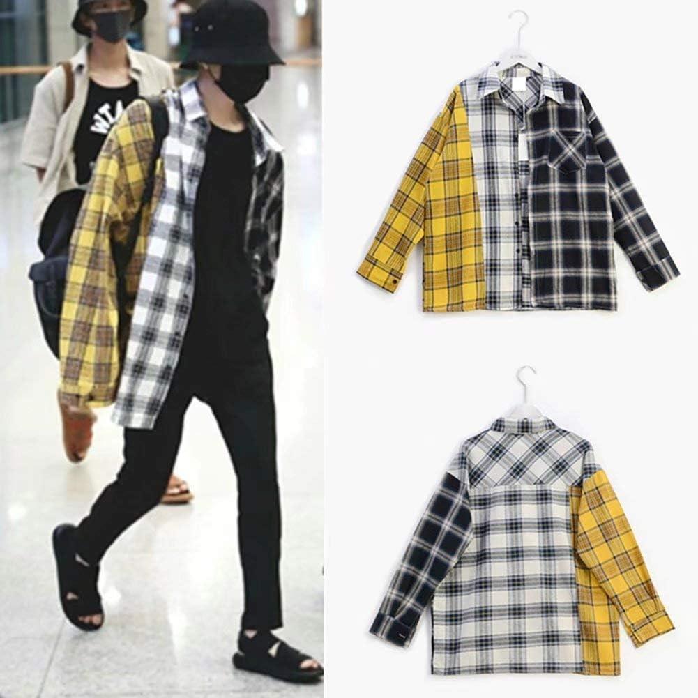 BTS Shirt Suga Style Lose gen/äht Kariertes Hemd Plaid Shirt