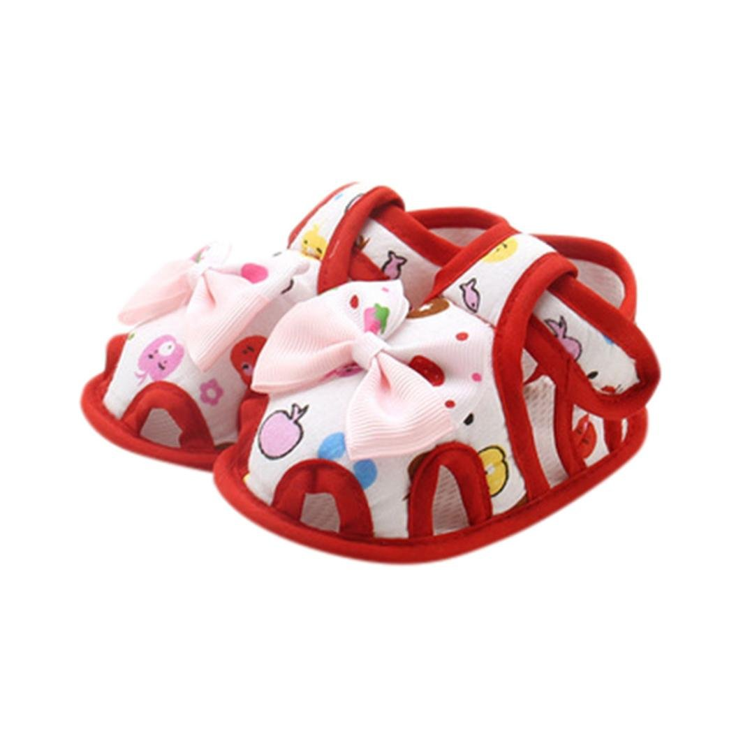 WARMSHOP For 0-18 Months Baby Girls Soft Sole Sandals Cute Print Bow Summer Toddler Fashion Shoes Purple, 6~12 Months