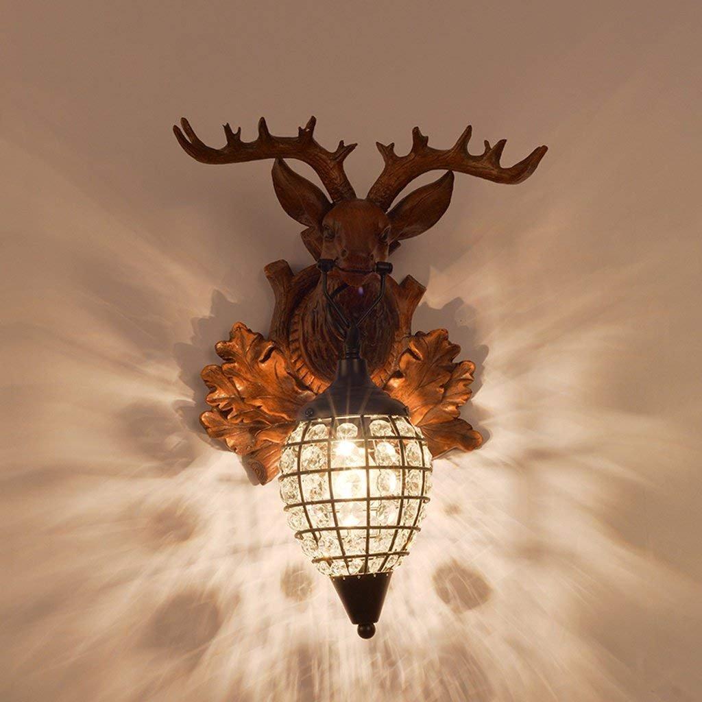 JU Europäischen Stil Retro Wandleuchte Kreative Villa Apartment Café Bar Restaurant Kristall Deer Wandleuchte