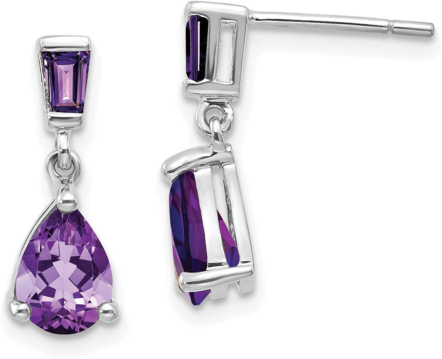 Approximate Measurements 18mm x 5mm 14K White Gold Simulated Amethyst Dangle Post Earrings