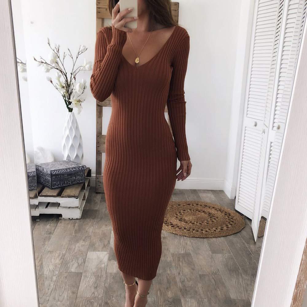 2018 Vovotrade Women Winter Dress Vintage Knitting Bodycon Women Long Sleeve Dress V Neck Solid Sweater Dress Ladies Casual Slim Dress Tunic Knitwear