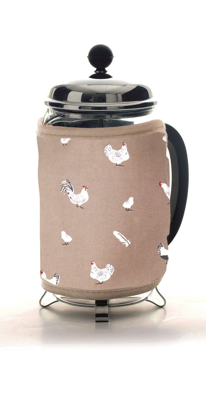 Rushbrookes Pecking Order 100% Cotton Stone Cafetiere Cosy