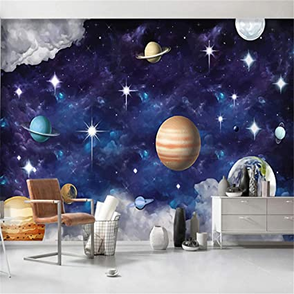 Xzdxr Custom Photo Wallpaper 3d Cartoon Space Star Planet Children