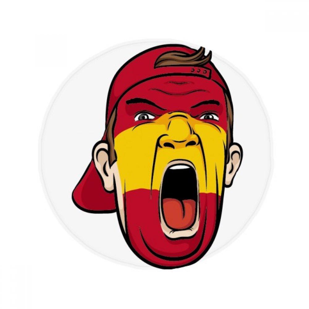60X60cm DIYthinker Spain Flag Facial Makeup Mask Screaming Cap Anti-Slip Floor Pet Mat Round Bathroom Living Room Kitchen Door 60 50Cm Gift
